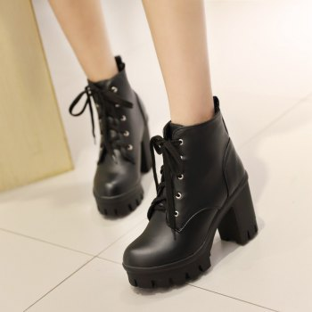 Lace Up Shoes Chunky Heel Platform Plus Size Women's Combat Boots - BLACK 38