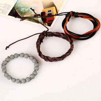 Men's Bracelet Set Beads Fashionable Accessory - multicolorCOLOR
