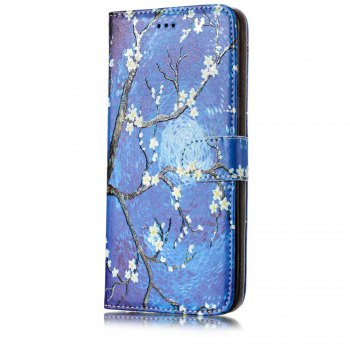 Embossed Blue Pattern Leather Cover Case for Samsung Galaxy S8 Plus - BLUE