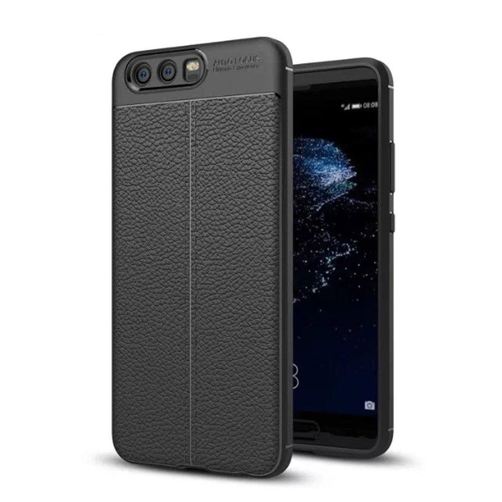 For Huawei P10 Litchi Grain Drop Antiskid Mobile Phone Protection Case - BLACK
