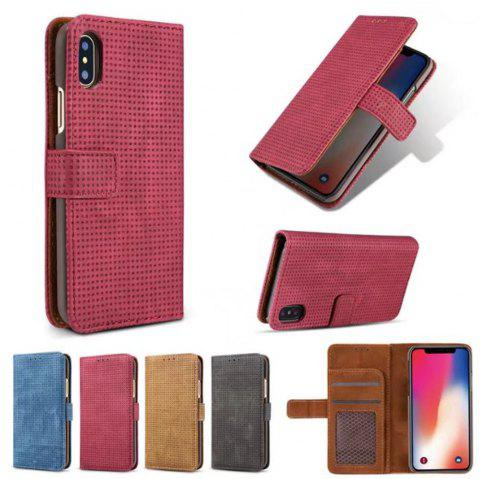 Case For iPhone X Cover Case  Mesh Style Flip Wallet - RED