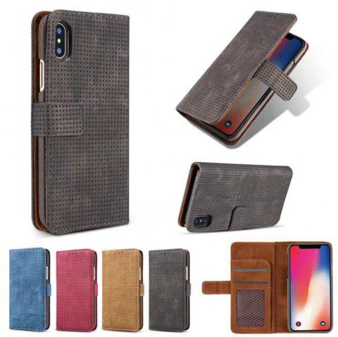For iPhone X Cover Case  Mesh Style Flip Wallet - BLACK