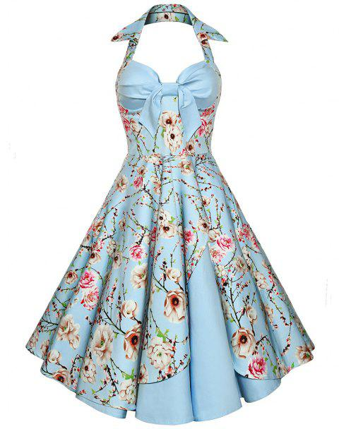 Women'S Dress Sexy Cotton Hepburn Printed Neck Halter Dress - LIGHT BULE XL
