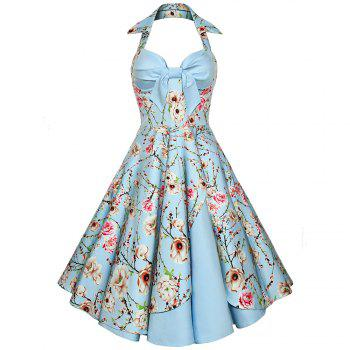 Women'S Dress Sexy Cotton Hepburn Printed Neck Halter Dress