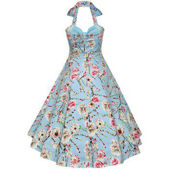 Women'S Dress Sexy Cotton Hepburn Printed Neck Halter Dress - LIGHT BULE S