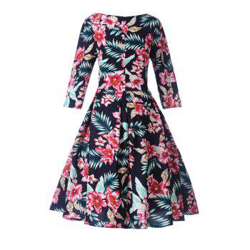 Women'S Dress Printed Hepburn Vintage Dress - CADETBLUE XL