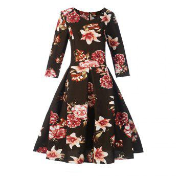 Women'S Dress Printed Hepburn Vintage Dress - DARK COFFEE DARK COFFEE