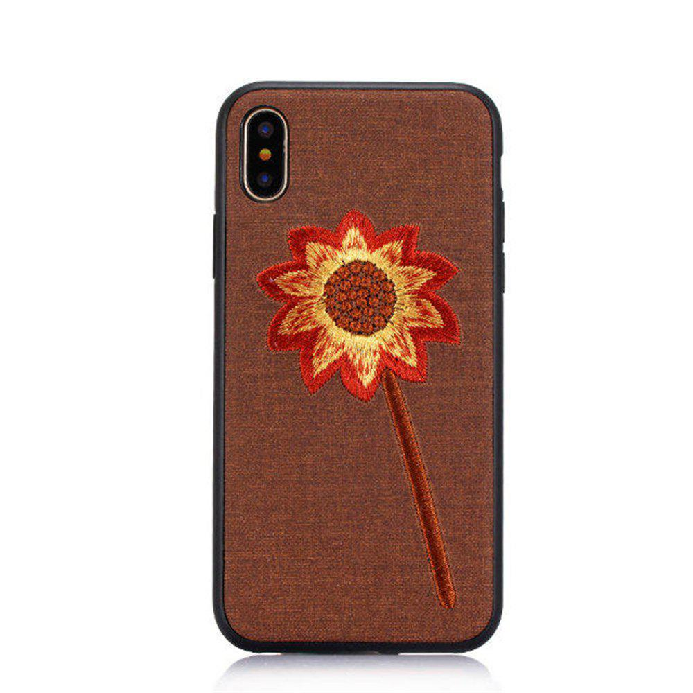 Luxury Embroidery Mobile Phone Protection Shell For iPhone X - BROWN