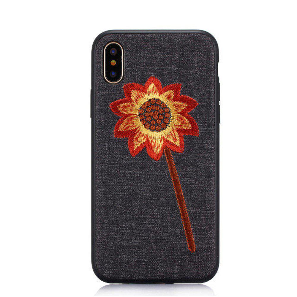 Luxury Embroidery Mobile Phone Protection Shell For iPhone X - BLACK