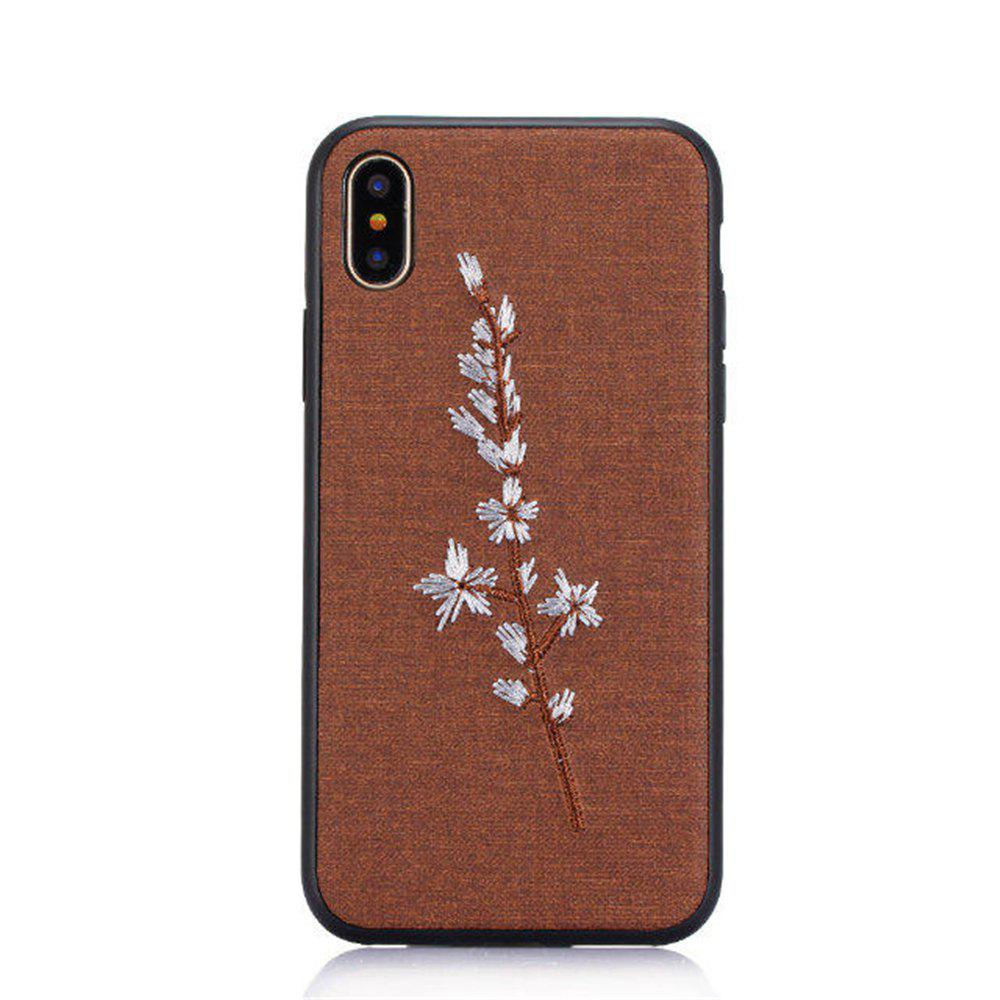 Embroidery Mobile Phone Protection Shell For iPhone X - BROWN