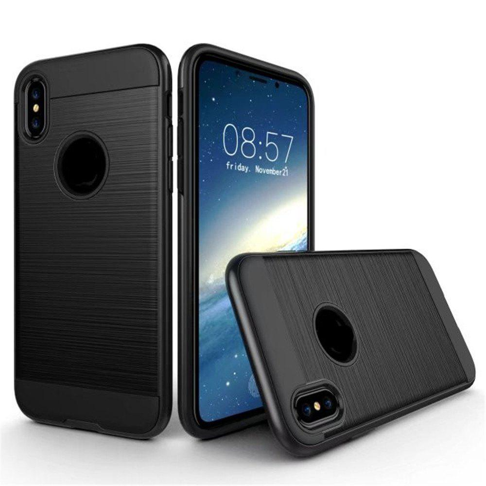 Dual Layer Hybrid Shockproof Cover Slim Armor Provides Complete All-Around Protection for iPhone X Case - BLACK