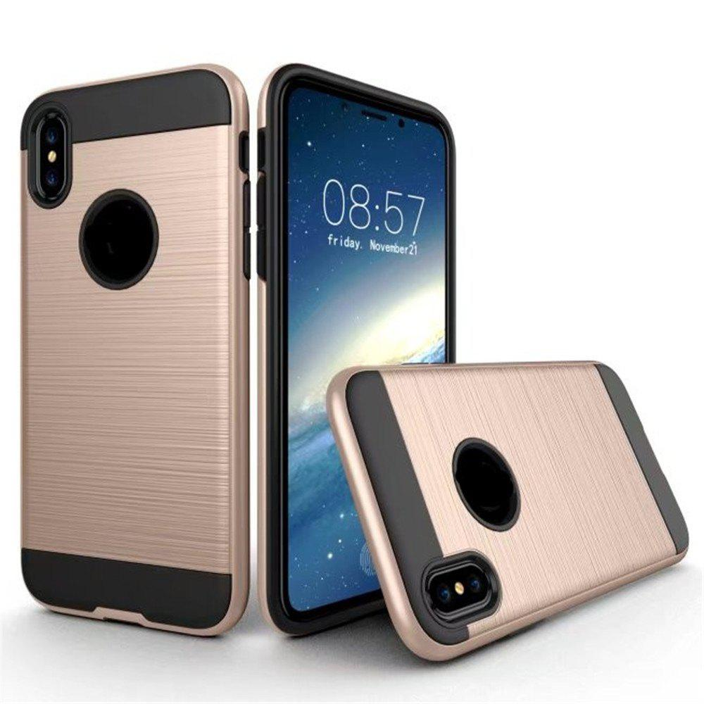 Dual Layer Hybrid Shockproof Cover Slim Armor Provides Complete All-Around Protection for iPhone X Case - GOLDEN