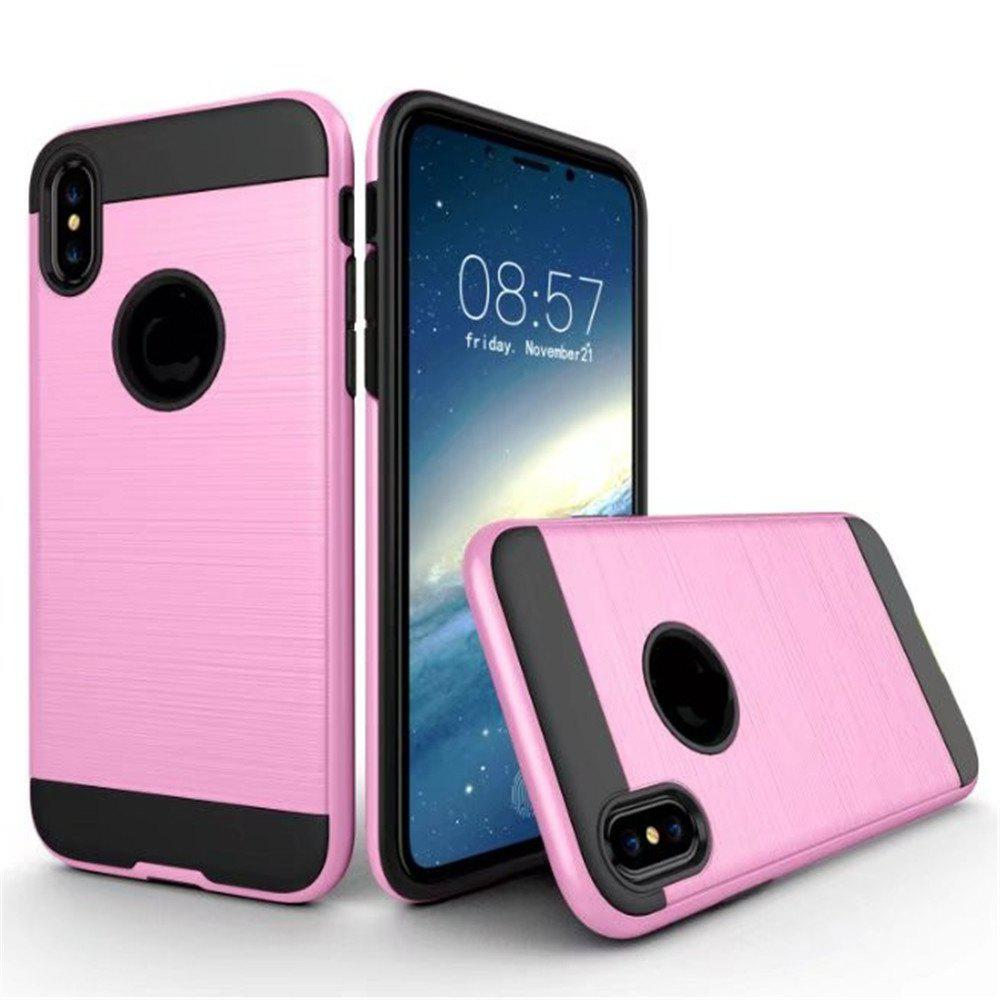 Dual Layer Hybrid Shockproof Cover Slim Armor Provides Complete All-Around Protection for iPhone X Case - PINK