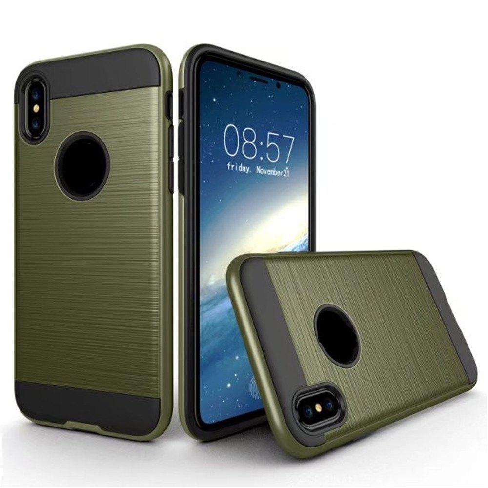 Dual Layer Hybrid Shockproof Cover Slim Armor Provides Complete All-Around Protection for iPhone X Case - ARMYGREEN