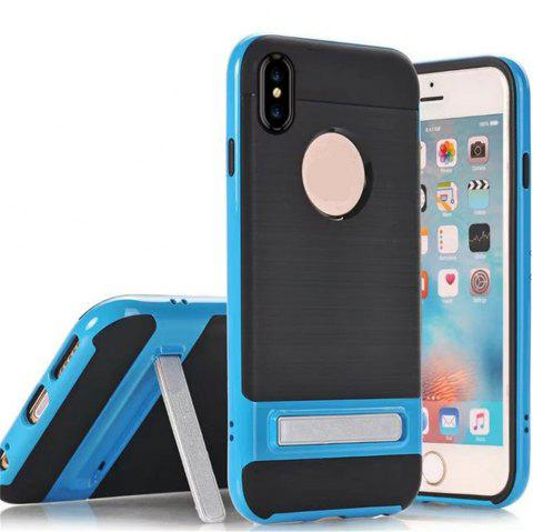 Wire Drawing Bracket Armor TPU+PC Newest Hard Plastic Cover Case For iPhone X - BLUE