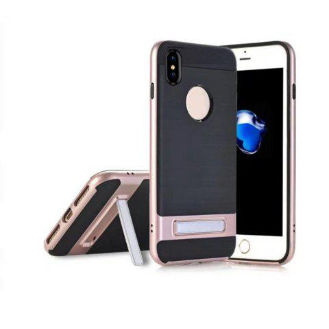 Wire Drawing Bracket Armor TPU+PC Newest Hard Plastic Cover Case For iPhone X - ROSE GOLD