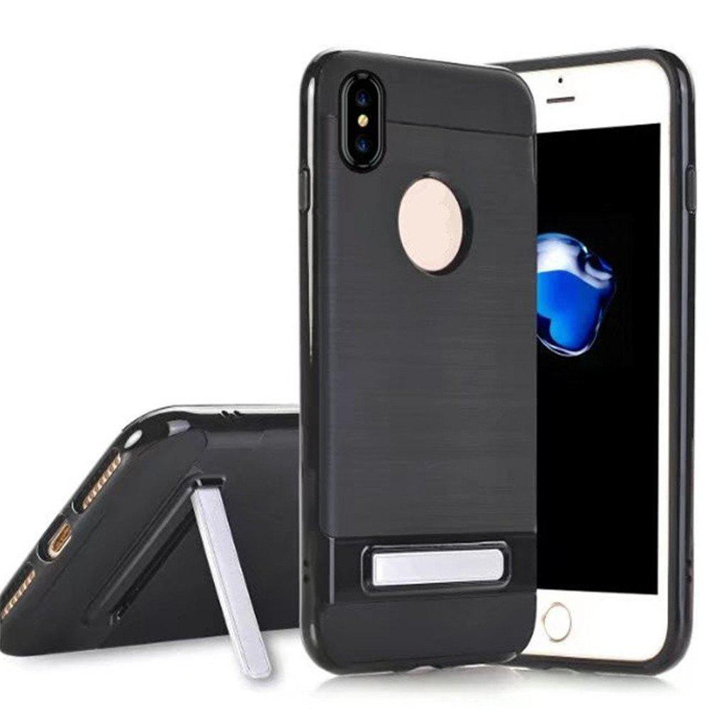 Wire Drawing Bracket Armor TPU+PC Newest Hard Plastic Cover Case For iPhone X - BLACK