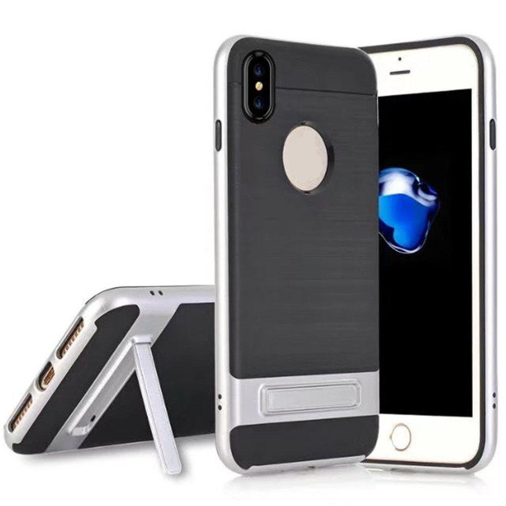 Wire Drawing Bracket Armor TPU+PC Newest Hard Plastic Cover Case For iPhone X - SILVER