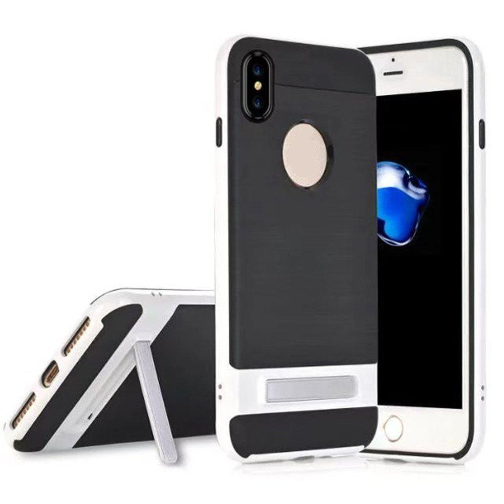 Wire Drawing Bracket Armor TPU+PC Newest Hard Plastic Cover Case For iPhone X - WHITE