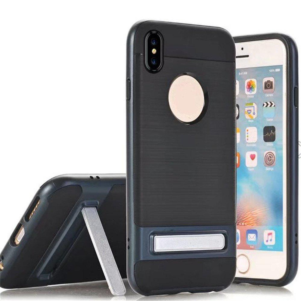 Wire Drawing Bracket Armor TPU+PC Newest Hard Plastic Cover Case For iPhone X - ROYAL