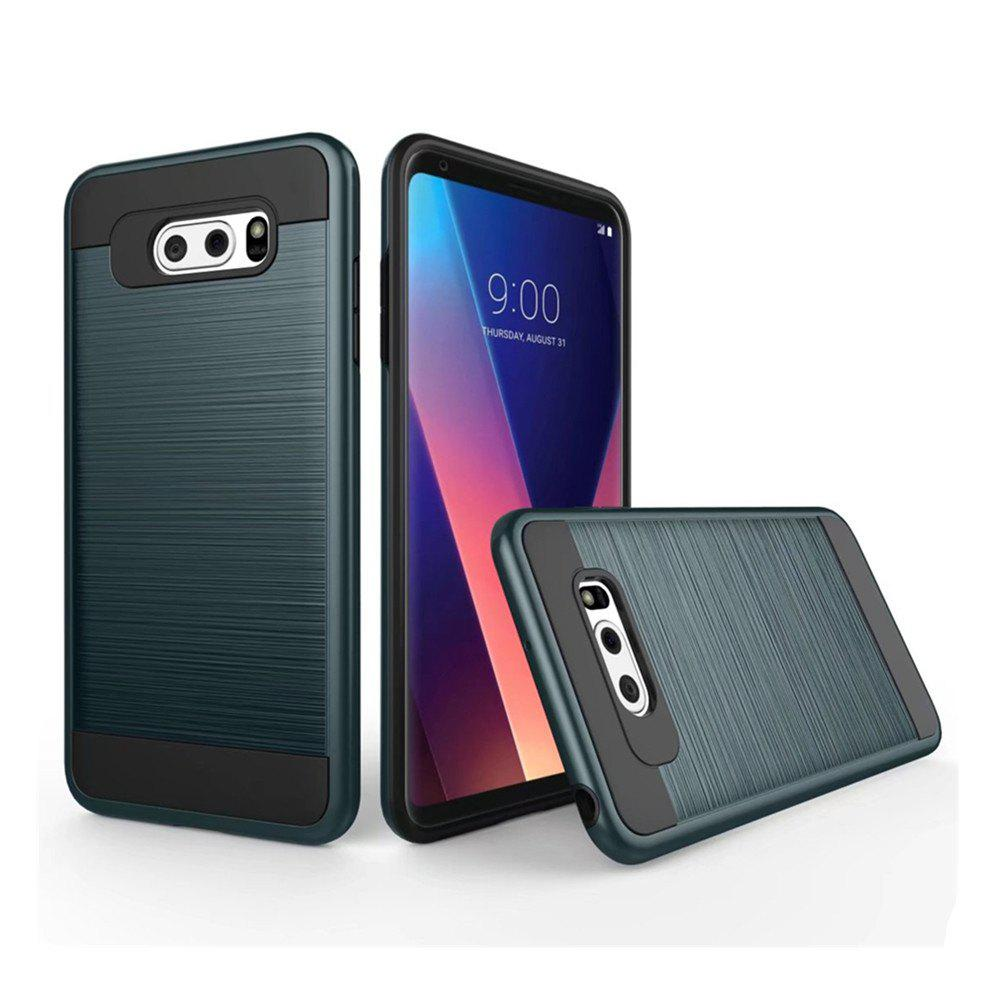 Carbon Dimension Wire Drawing Business Fashion Shock Absorption for LG V30 Case - ARMYGREEN