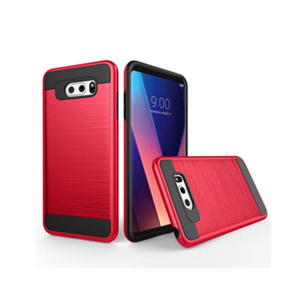 Carbon Dimension Wire Drawing Business Fashion Shock Absorption for LG V30 Case - RED
