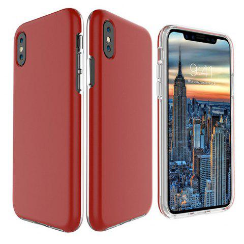 For iPhone X Case Cover Hard PC TPU Hybrid Matte Plain Back  Anti-knock Mobile Phone - RED