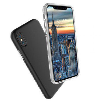 For iPhone X Case Cover Hard PC TPU Hybrid Matte Plain Back  Anti-knock Mobile Phone - BLACK
