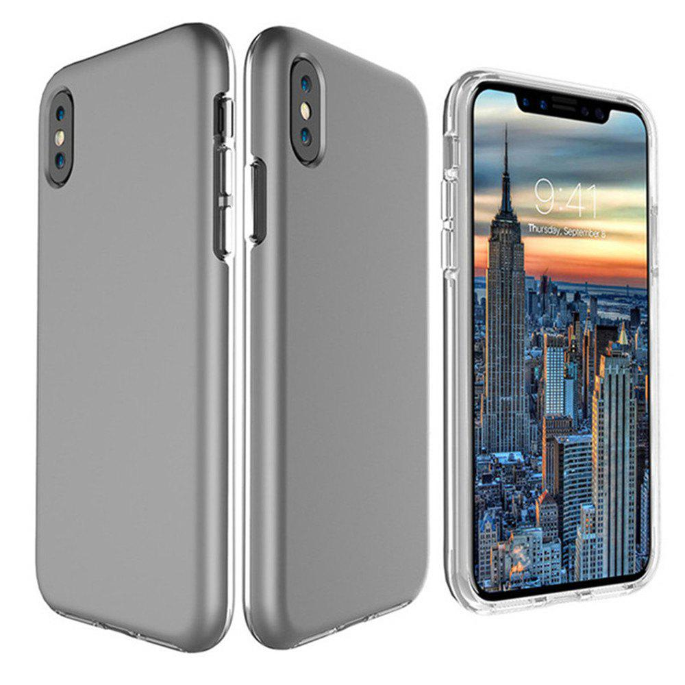 For iPhone X Case Cover Hard PC TPU Hybrid Matte Plain Back  Anti-knock Mobile Phone - GRAY