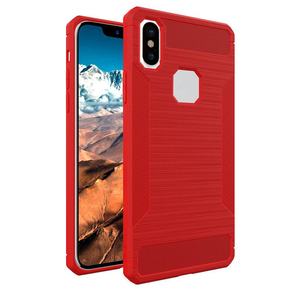 For iPhone X Dustproof Back Cover Case Solid Color Soft TPU - RED