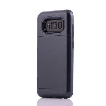 Armour Case for Samsung Galaxy S8 Cover Card Pocket Hard PC Soft TPU Protective Fundas - BLACK