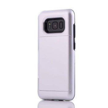 Armour Case for Samsung Galaxy S8 Cover Card Pocket Hard PC Soft TPU Protective Fundas - SILVER