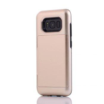 Armour Case for Samsung Galaxy S8 Cover Card Pocket Hard PC Soft TPU Protective Fundas - GOLDEN
