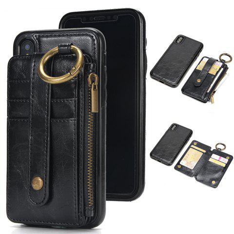 Waist Zipper Type Wallet Leather Case for iPhone X - BLACK