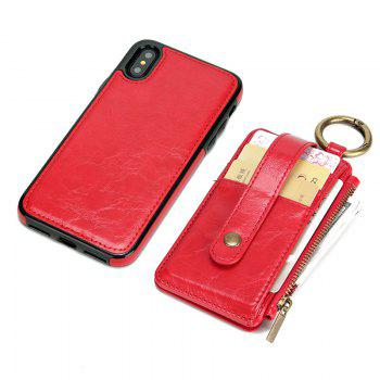 Waist Zipper Type Wallet Leather Case for iPhone X - RED