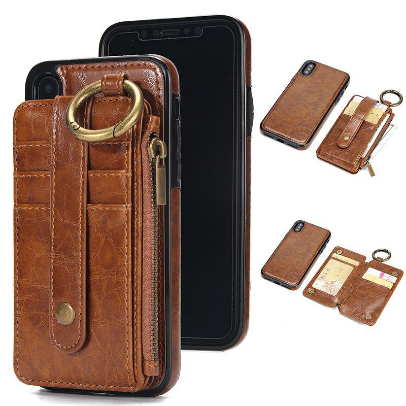Waist Zipper Type Wallet Leather Case for iPhone X - LIGHT BROWN