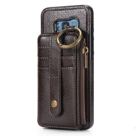 Waist Zipper Type Wallet Leather Case for Samsung Galaxy S8 Plus - DEEP BROWN