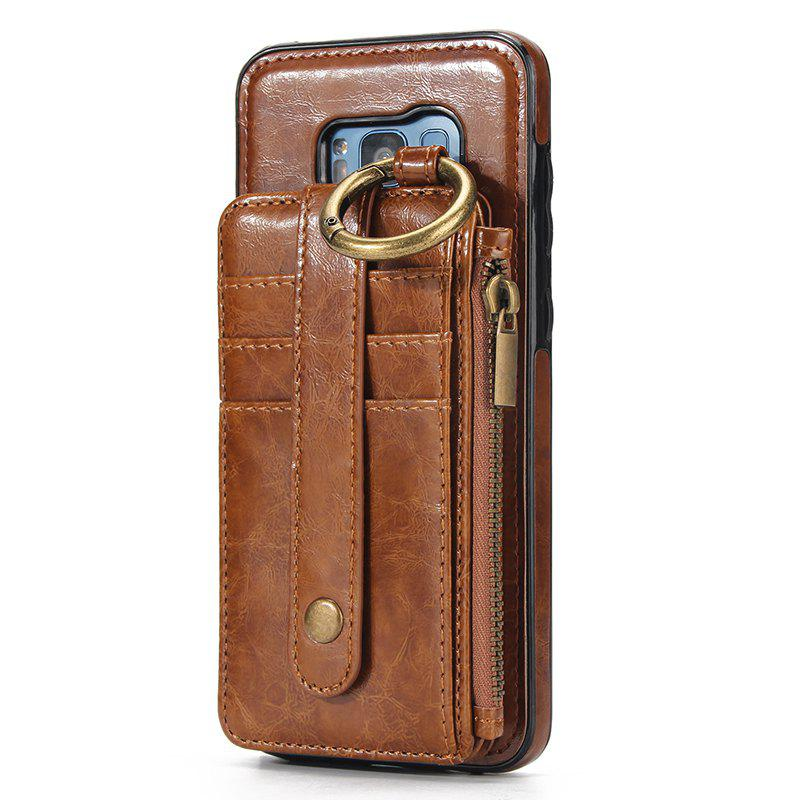 Waist Zipper Type Wallet Leather Case for Samsung Galaxy S8 Plus - LIGHT BROWN