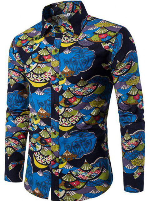 Autumn and Winter New Men's Long Sleeves Printed Floral Beach Shirts  Night Clubs Shirts - BLACK L