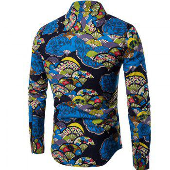 Autumn and Winter New Men'S Long Sleeves Printed Floral Beach Shirts  Night Clubs Shirts - BLACK BLACK
