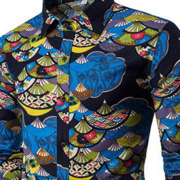 Autumn and Winter New Men'S Long Sleeves Printed Floral Beach Shirts  Night Clubs Shirts - BLACK 3XL