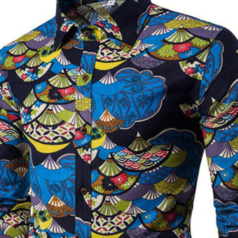 Autumn and Winter New Men's Long Sleeves Printed Floral Beach Shirts  Night Clubs Shirts - BLACK XL
