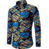 Autumn and Winter New Men's Long Sleeves Printed Floral Beach Shirts  Night Clubs Shirts - BLACK M