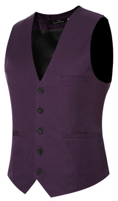 Men's Classic Formal Business Slim Fit Chain  Vest Suit Tuxedo Waistcoat - PURPLE XL