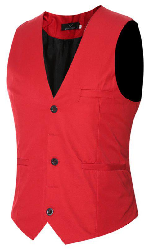 Men's Classic Formal Business Slim Fit Chain  Vest Suit Tuxedo Waistcoat - RED M
