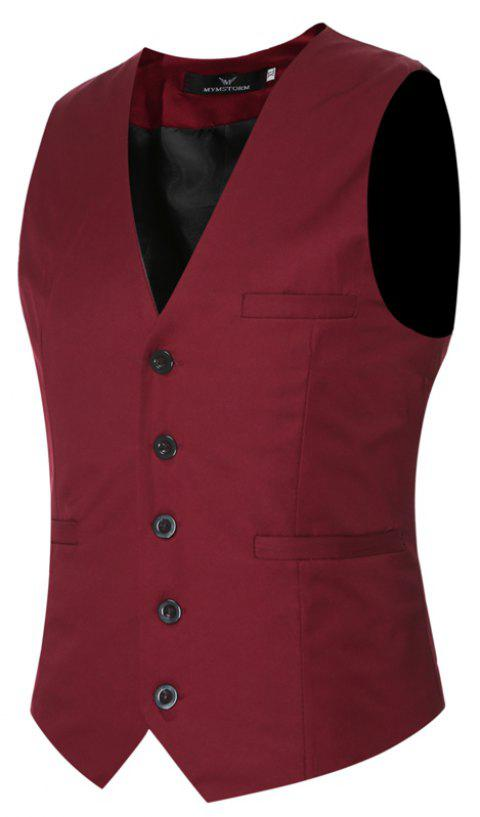 Men's Classic Formal Business Slim Fit Chain  Vest Suit Tuxedo Waistcoat - WINE RED M