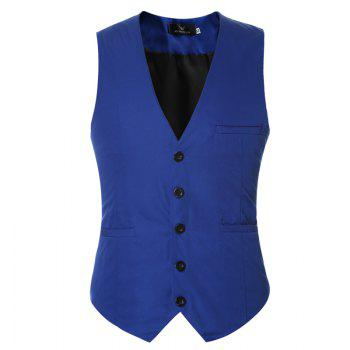 Men's Classic Formal Business Slim Fit Chain  Vest Suit Tuxedo Waistcoat - ROYAL XL