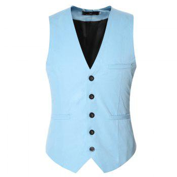 Men's Classic Formal Business Slim Fit Chain  Vest Suit Tuxedo Waistcoat - LAKE BLUE LAKE BLUE