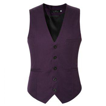 Men's Classic Formal Business Slim Fit Chain  Vest Suit Tuxedo Waistcoat - PURPLE 2XL