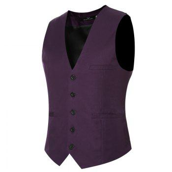 Men's Classic Formal Business Slim Fit Chain  Vest Suit Tuxedo Waistcoat - PURPLE PURPLE